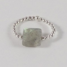 Small beads ring silver 925 labradorite square stone