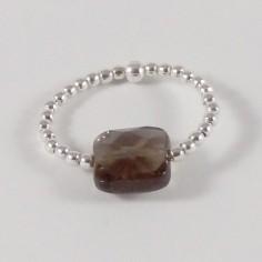 Bague minis perles argent Pierre semi - précieuse quartz fumé carrée