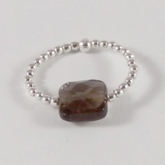 Small beads ring silver 925 smoky quartz square stone