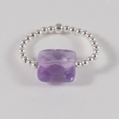 Small beads ring silver 925 amethyst square stone
