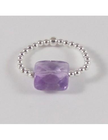 Bague minis perles argent Pierre semi - précieuse améthyste carrée