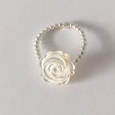 Bague minis perles argent Rose nacre blanche