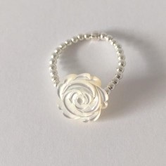 Small beads ring silver 925 white rose mother of pearl