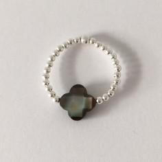 Bague minis perles argent Croix nacre grise