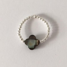 Small beads ring silver 925  grey cross mother of pearl