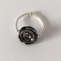 Bague minis perles argent Rose nacre grise