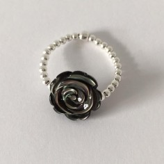 Small beads ring silver 925 grey rose mother of pearl