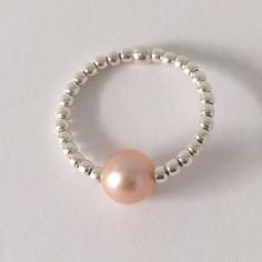 Bague minis perles argent Perle d'eau douce saumon