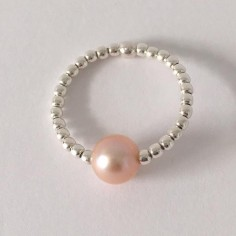 Small beads ring silver 925 light orange freshwater pearl