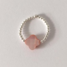 Small beads ring silver 925 pink cross mother of pearl