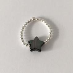 Bague minis perles argent Etoile nacre grise