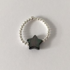 Small beads ring silver 925  grey star mother of pearl