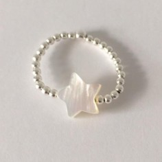 Small beads ring silver 925  white star mother of pearl