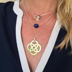 Collier chaine argent Lapis Lazuli ovale facettée