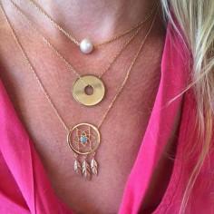 Collier chaine plaqué or perle d'eau douce rosée ronde baroque