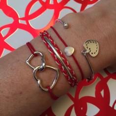 Bracelet cordon Coeurs entrelacés argent
