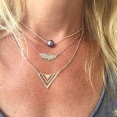 Three V chain necklace silver 925