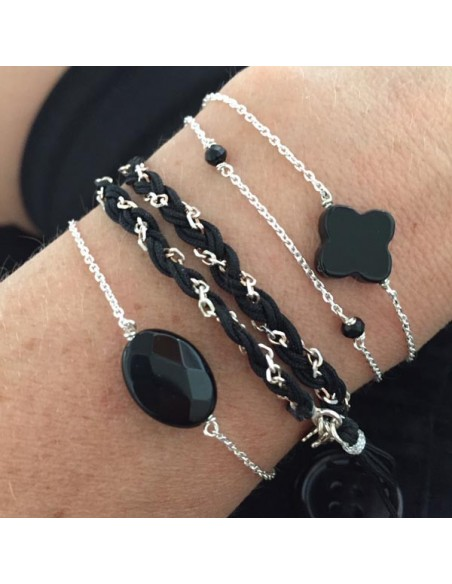Chain bracelet silver 925 oval faceted onyx