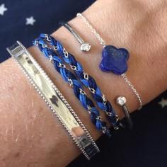 Bracelet chaine argent pierre Lapis lazuli croix