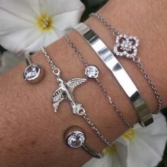 Bracelet Jonc argent 2 pierres zircons