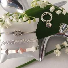 Bracelet Jonc argent fin noeud plat