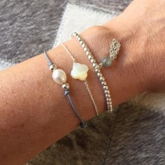 Cord bracelet white freshwater pearl silver beads
