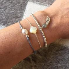 Cord bracelet white freshwater pearl silver beads