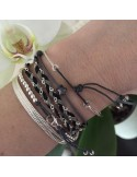 Cord bracelet small grey mother of pearl star silver