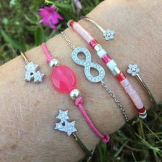 Bracelet perles argent Pierre semi - précieuse ovale