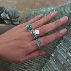 Bague minis perles argent Pierre croix turquoise