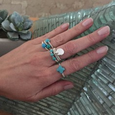 Small beads ring silver 925 turquoise cross