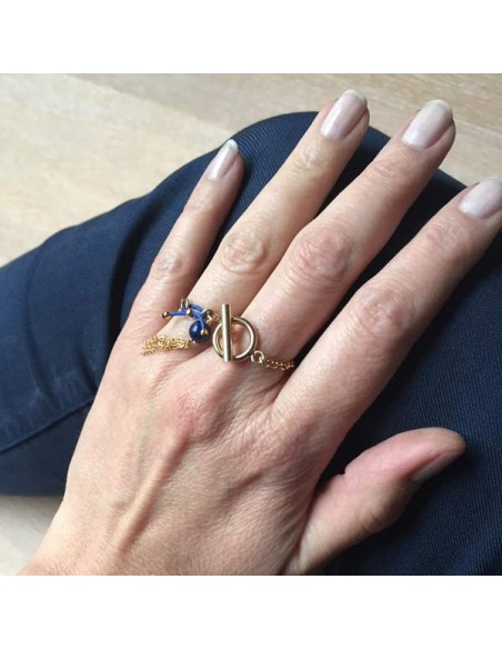 Chain toggle ring gold plated