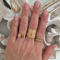 Large braided ring gold plated