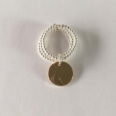 Three rows small beads ring silver 925 small hammered gold plated medal