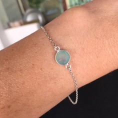 Silver 925 chain bracelet with water green chalcedony