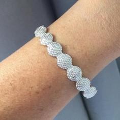 Circles flat bangle bracelet silver 925