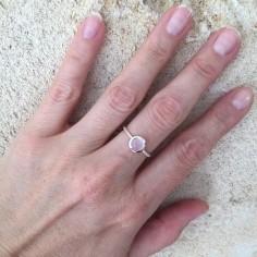 Light pink stone ring silver 925