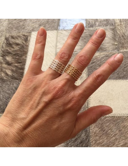 Large 5 rows chain open ring gold plated