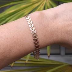 Bracelet chaine plaqué or Laurier