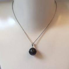 Collier chaine argent perle de Tahiti noire gravée