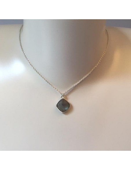 Diamond faceted labradorite stone chain necklace 925