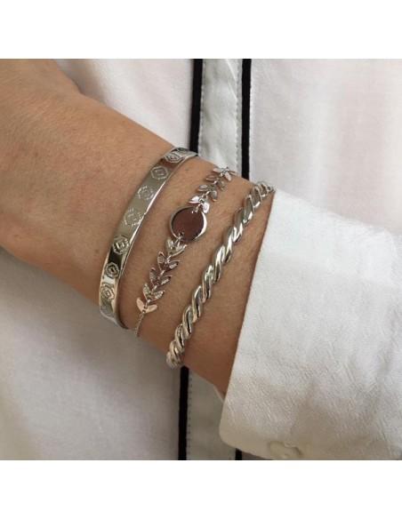 Gadroons open bangle bracelet silver 925