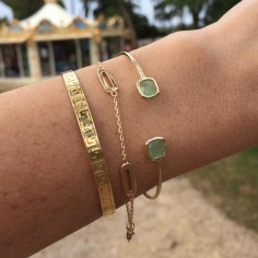Light green stones bangle bracelet gold plated