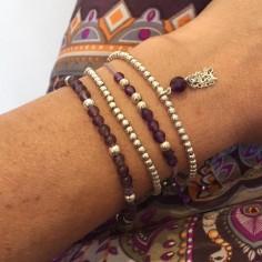 Bracelet chaine argent petit pompon pierre semi- précieuse