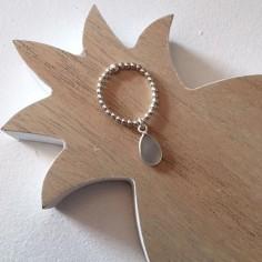 Bague mini perles argent goutte agate grise