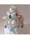 Bague mini perles argent goutte calcédoine bleue