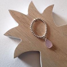 Small beads ring silver 925 pink quartz drop
