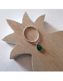 Small beads ring silver 925 green onyx drop