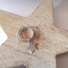 Bague mini perles 2 rangs argent médaille étoile