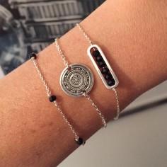 Bracelet chaine argent maillon mini pierres facetées